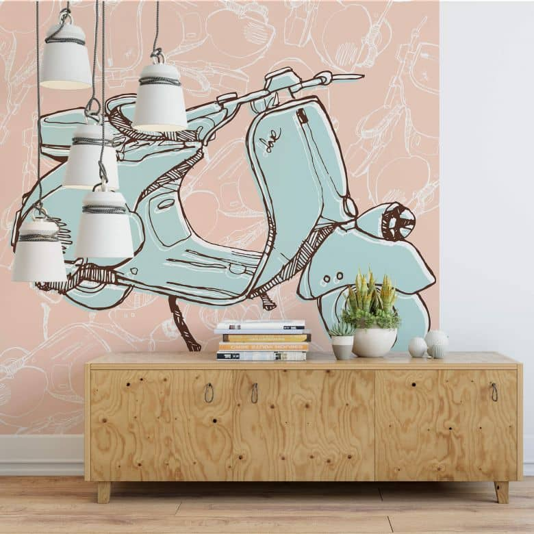 fototapete illustrated vespa wall. Black Bedroom Furniture Sets. Home Design Ideas