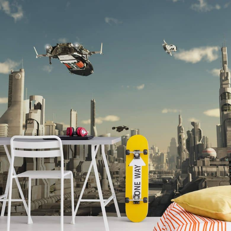 Fototapete - 3D Landeanflug Sci-Fi Stadt