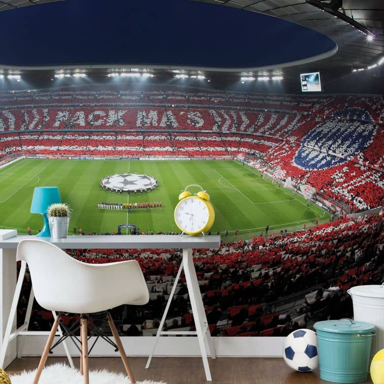 fototapete bayern m nchen stadion choreo pack mas wall. Black Bedroom Furniture Sets. Home Design Ideas