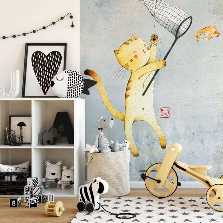 Fototapete Loske - Katze mit Ballon
