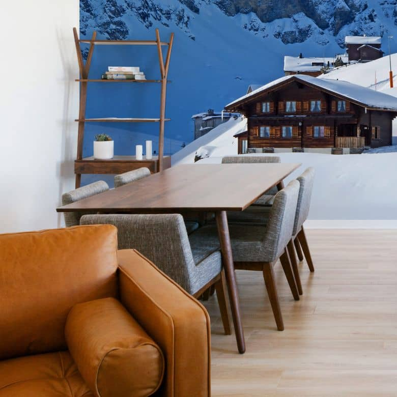 Fototapete Ferienhütte in den Schweizer Alpen