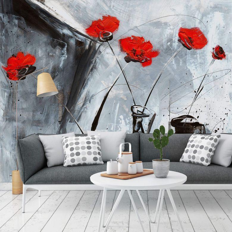 Photo Wallpaper Niksic – Red Flower Mystery