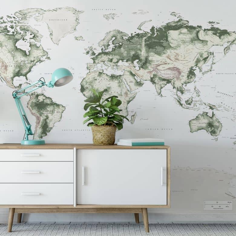 Fototapete - Topografische Weltkarte - vintage