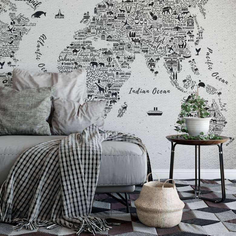 Fototapete Weltkarte - Around the world - 384x260 cm