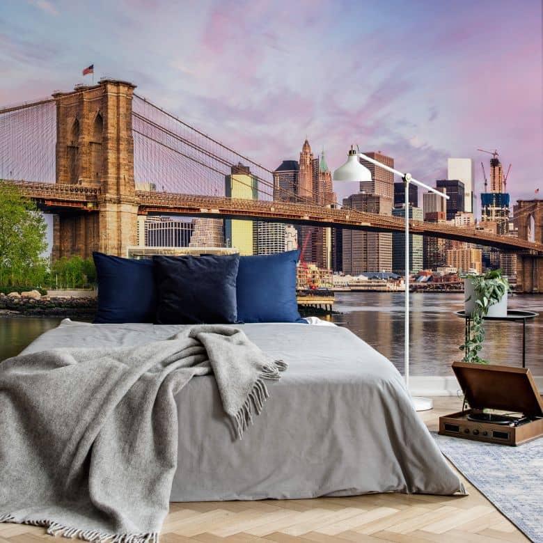 Fototapete Colombo - Manhattan Skyline und die Brooklyn Bridge