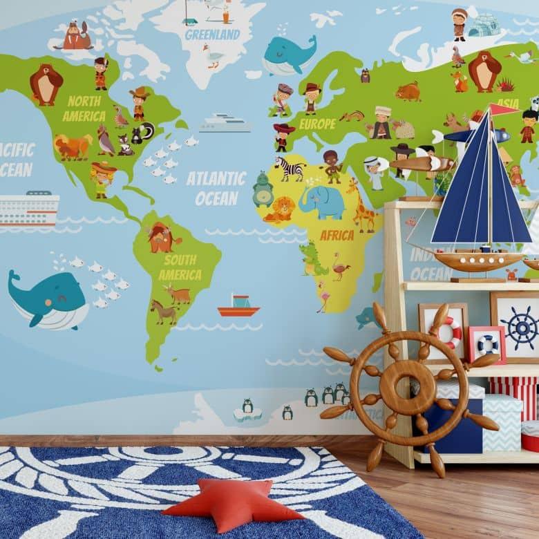 Fototapete Lustige Kinder Weltkarte