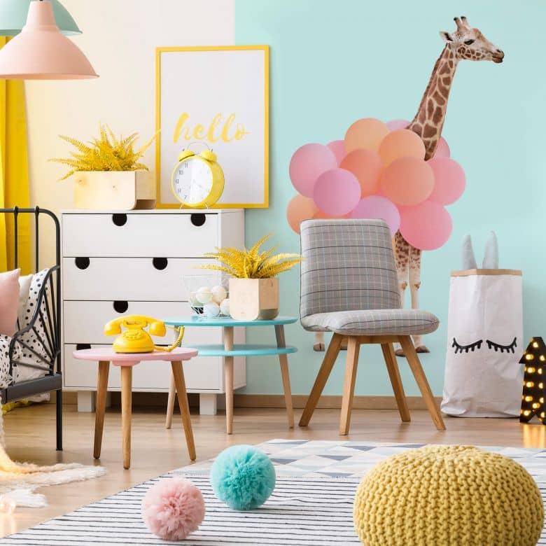 Fototapete Fuentes - Giraffe und Ballons
