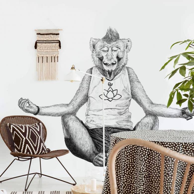 Fototapete Kools - Monkey Yoga - 336x260 cm