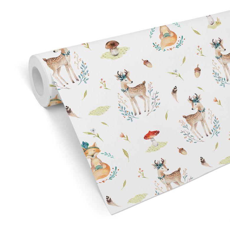 Patterned Wallpaper Kvilis – Forest Animals