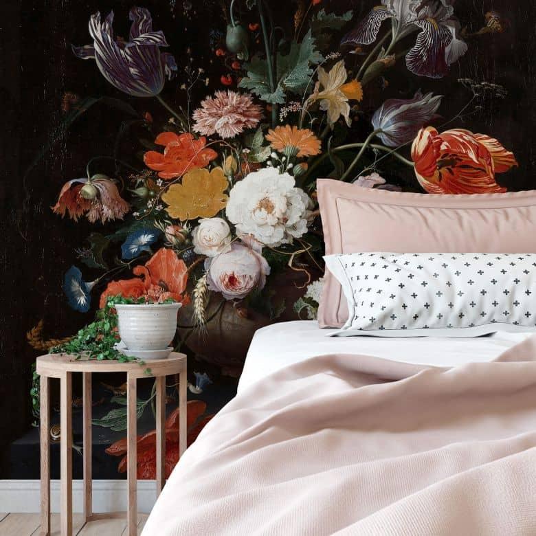 Fototapete Mignon - Stillleben mit Blumen und einer Uhr