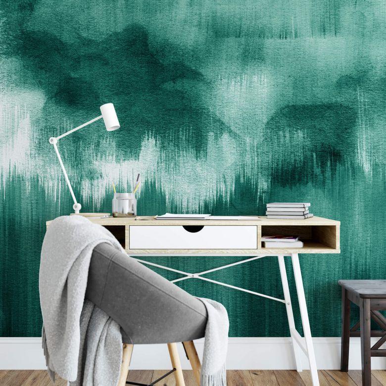 Fototapete Nouveauprints - Watercolour Brush Strokes (türkis)
