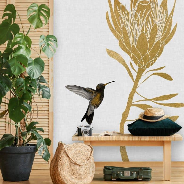 Fototapete Orara Studio - Hummingbird and Flower - goldene Blume
