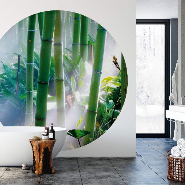 Fotomurale - Foresta di bambù - tondo