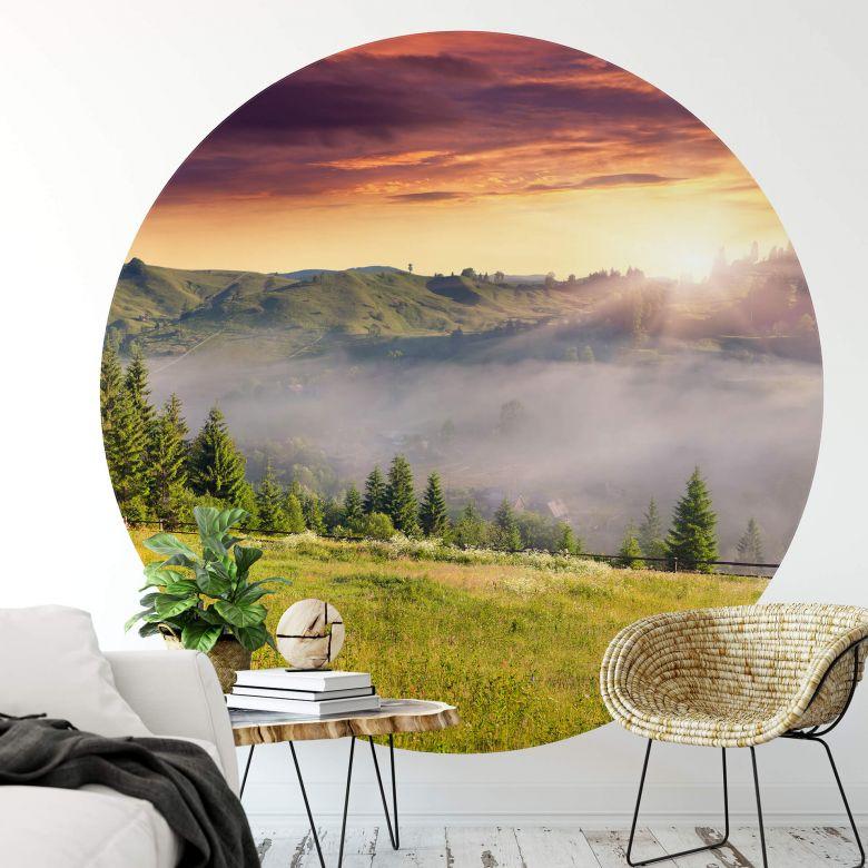 Fototapete Bergtal im Nebel - Rund