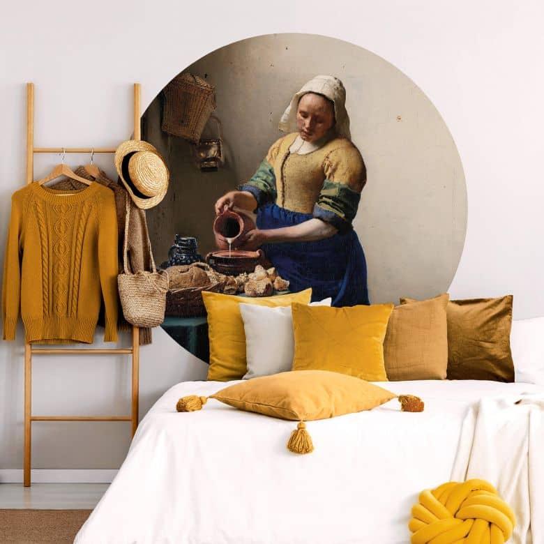 Fototapete Vermeer - Das Mädchen mit dem Milchkrug - Rund
