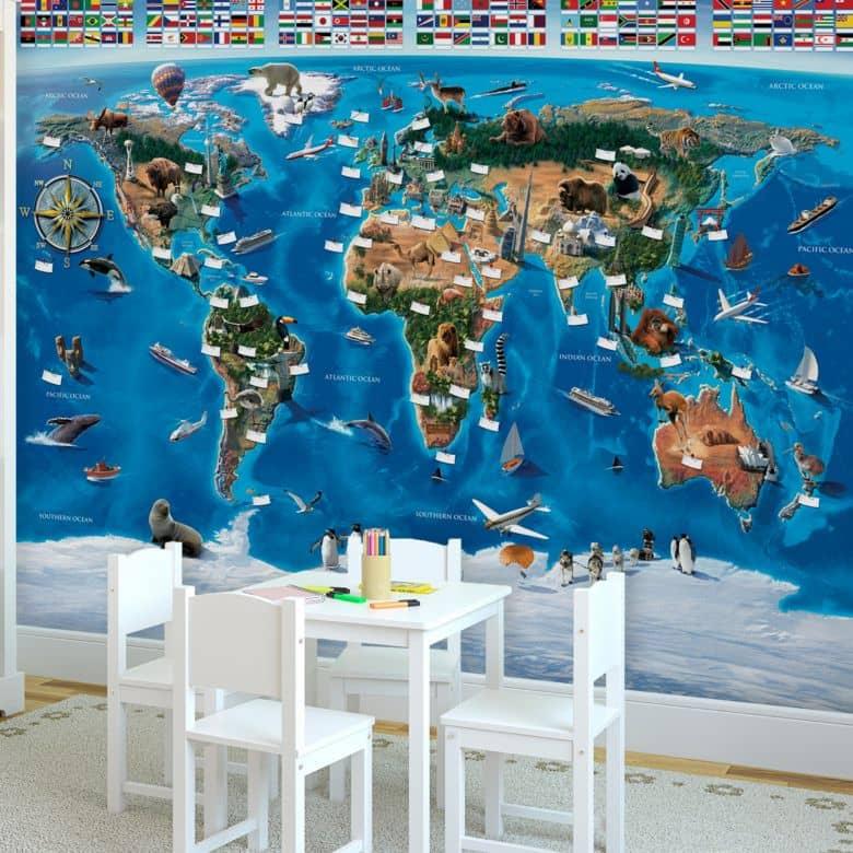 Fototapete Weltkarte und Flaggen