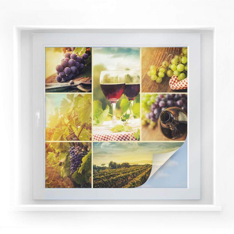 Sichtschutzfolie Wein Collage - quadratisch