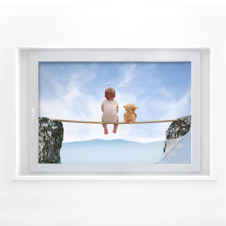Sichtschutzfolie Mit Teddy in den Bergen