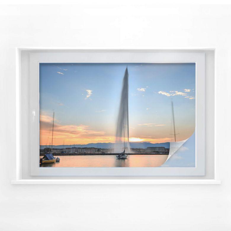 Sichtschutzfolie Wasserfontäne im Genfer Sonnenuntergang