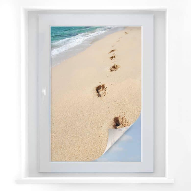 Sichtschutzfolie Fußspuren im Sand