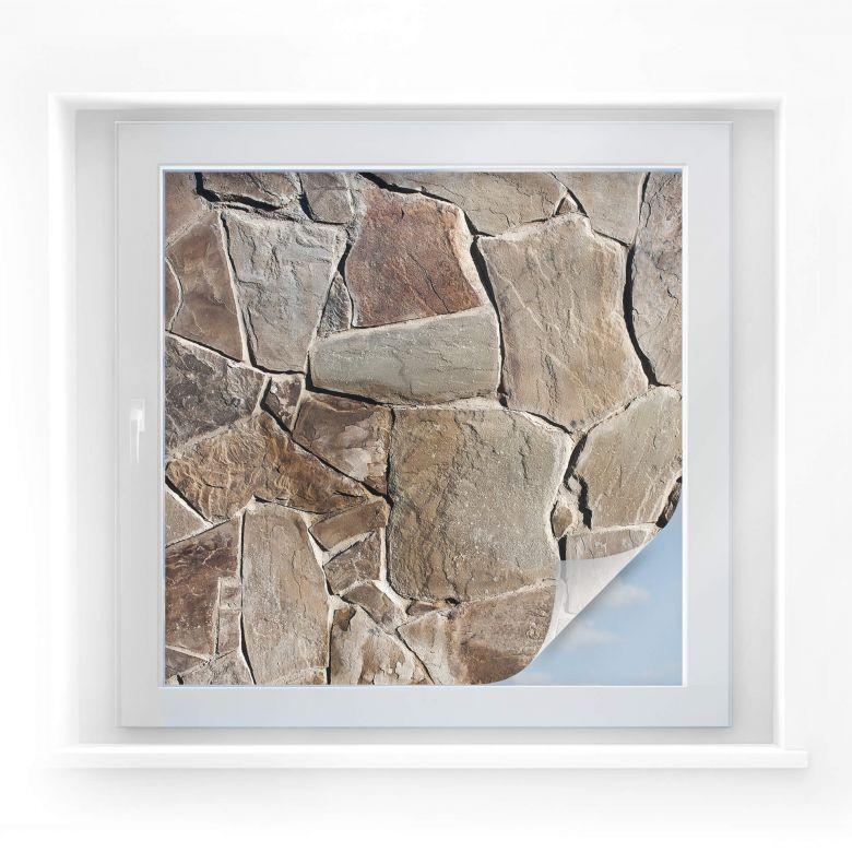 Sichtschutzfolie Mediterrane Maueroptik - quadrati