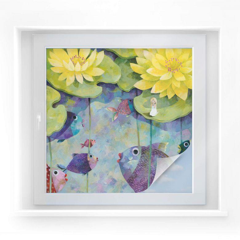 Window foil Blanz – Yellow waterlilies