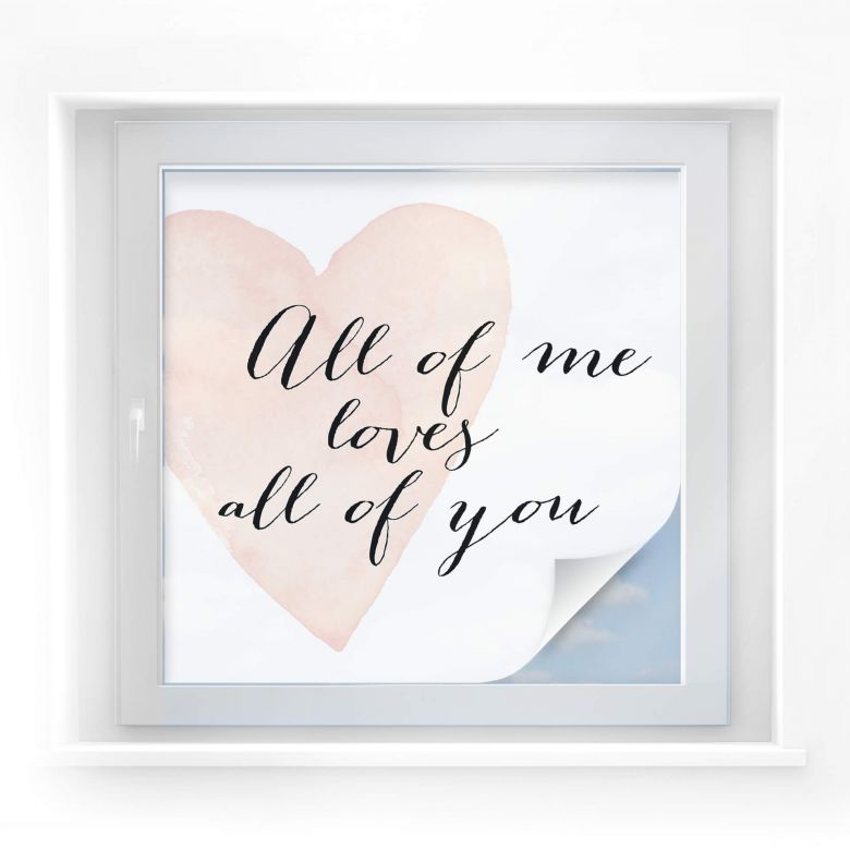 Sichtschutzfolie Confetti & Cream - All of me loves all of you
