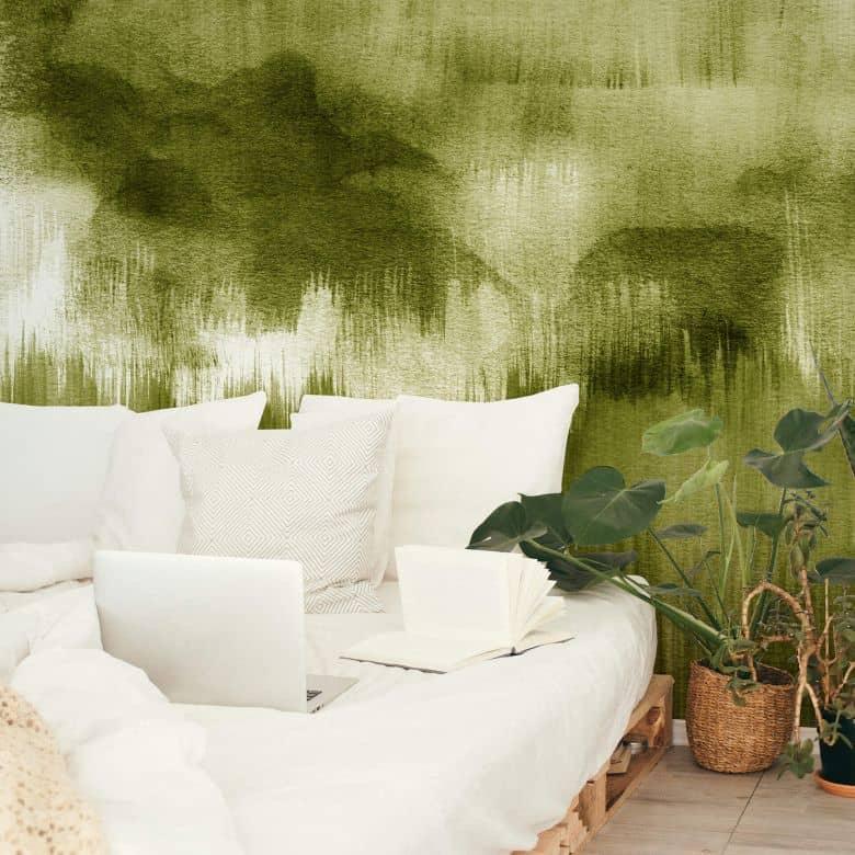 Fototapete Nouveauprints - Watercolour Brush Strokes (grün)