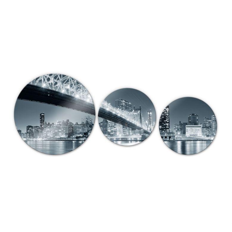 New York at Night 3 (3 parts) - Round Glass art