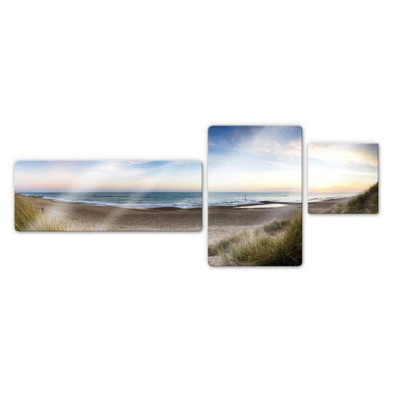 Glasbild Strandpanorama (3-teilig)
