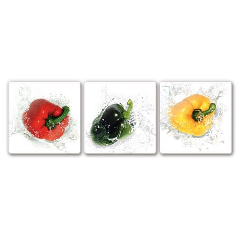 Glasbild Splashing Paprika (3-teilig)