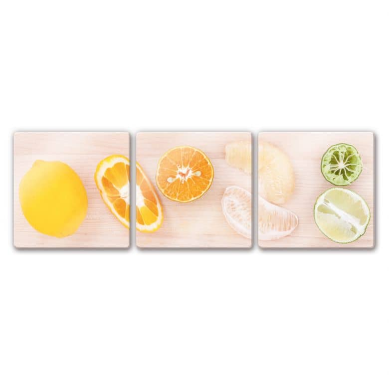 Glasbild Limonaden-Rezept (3-teilig)