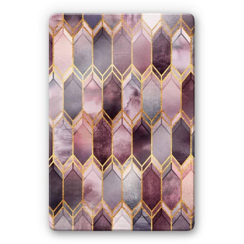 Glasbild Fredriksson - Glasmalerei - Rosé und Gold