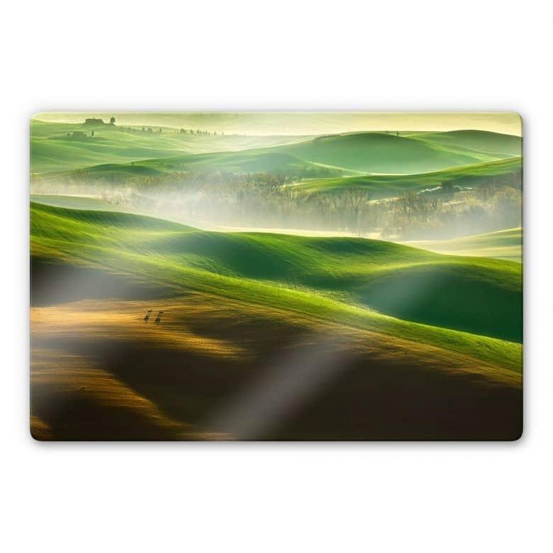 Glasbild Browko - Grüne Wiesen