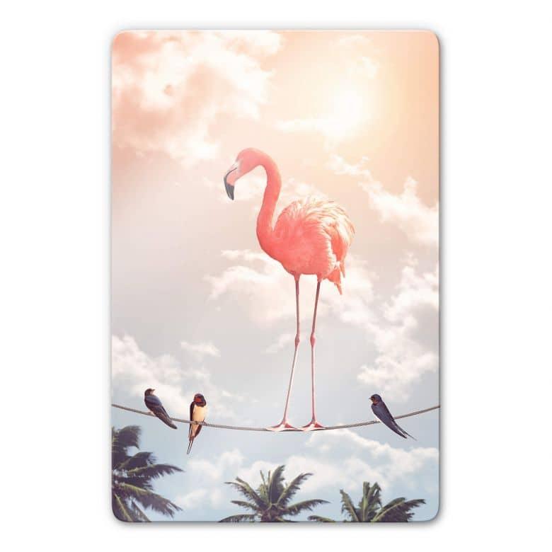 Glasbild Loose - Flamingo and Friends