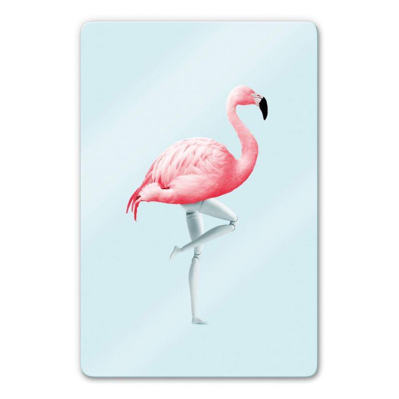 Glasbild Loose - Flamingo Mannequin