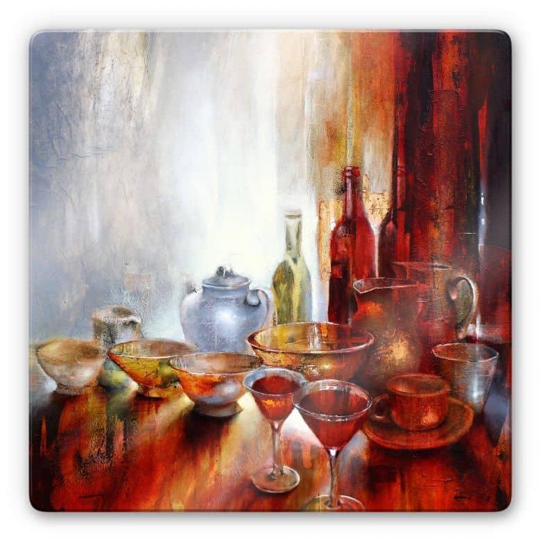 Glasbild Schmucker - Stillleben mit Teekanne