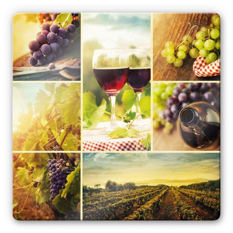 Glasbild Wein Collage - quadratisch