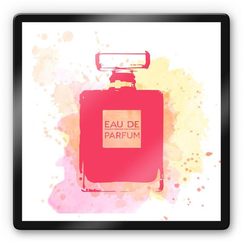 Glasbild Eau de Parfum Aquarell - Pink