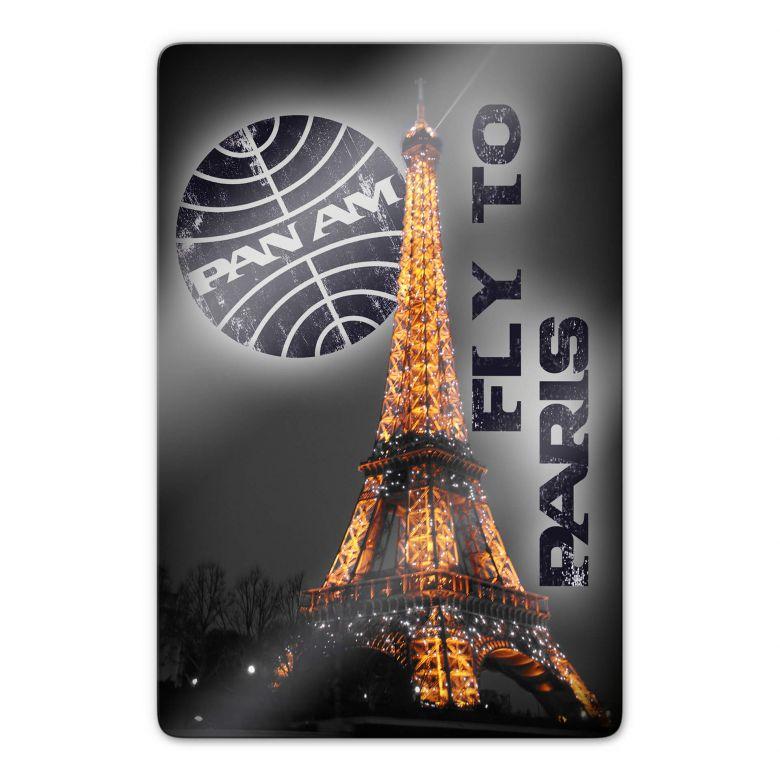 Glasbild  PAN AM - Paris Eiffelturm beleuchtet