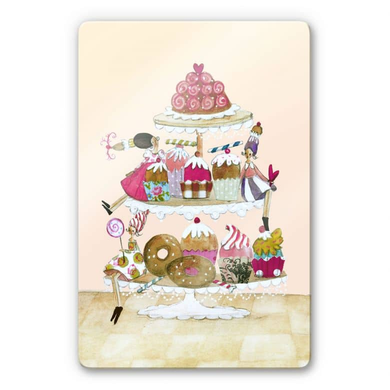 Glasbild Leffler - Glitzer Muffin Parade