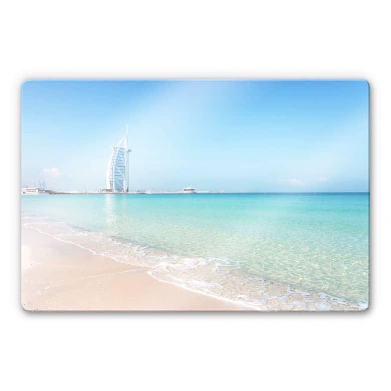 Glasbild Colombo – Am Strand von Dubai