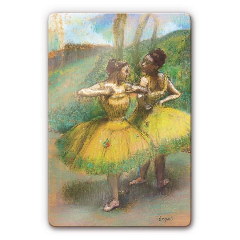 Glasbild Degas - Zwei Tänzerinnen in gelb