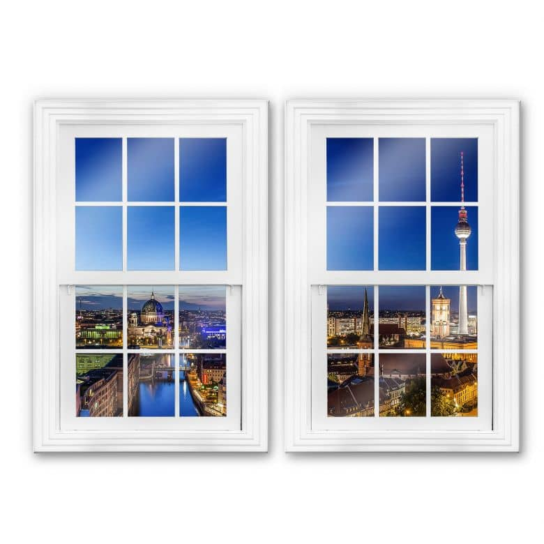 Glasbild 3D Doppelfenster 2-teilig - Berlin Panorama