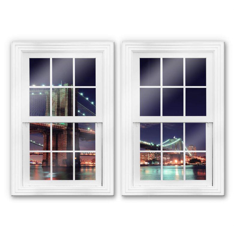 Glasbild 3D Doppelfenster 2-teilig - Manhattan Bridge at Night 2