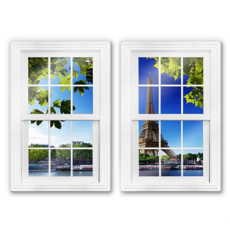 Glasbild 3D Doppelfenster 2-teilig - Summer in Paris