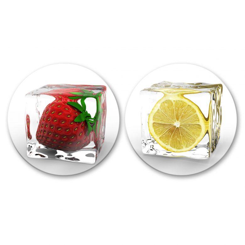 Tableau en verre - Set de glaçons (2 parties) - rond