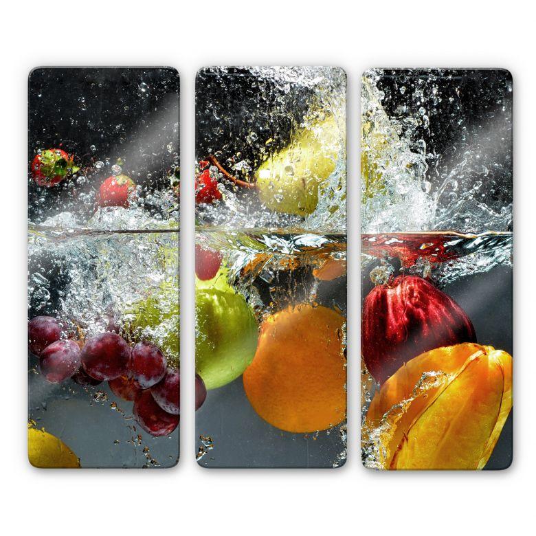 Glasbild Erfrischendes Obst (3-teilig)