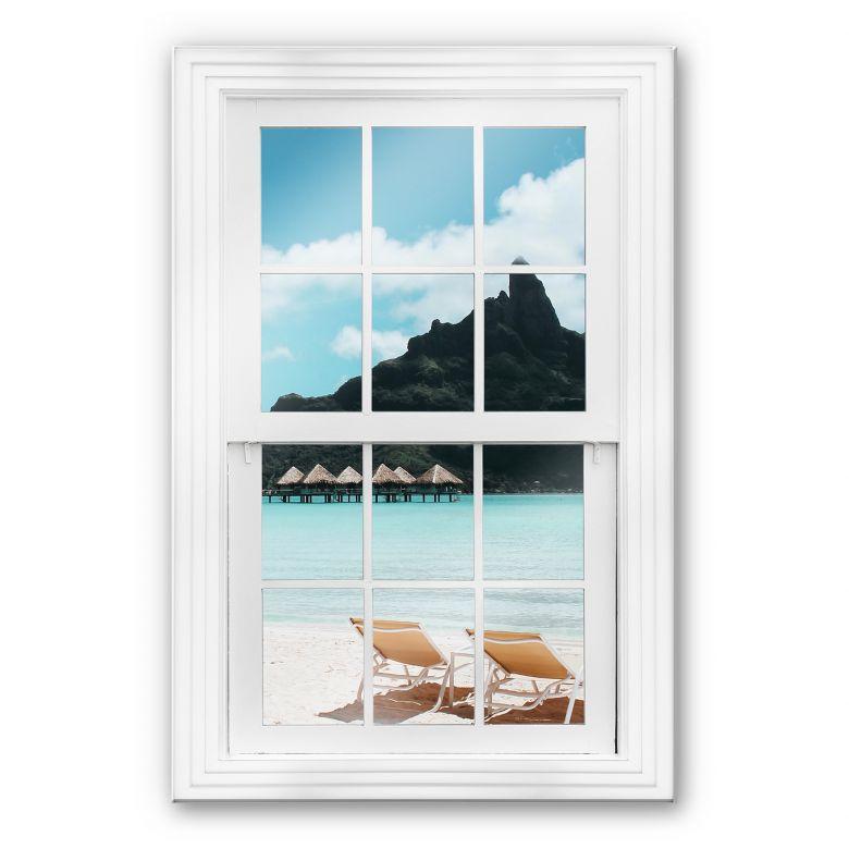 glasbild 3d fenster auf den malediven wall. Black Bedroom Furniture Sets. Home Design Ideas