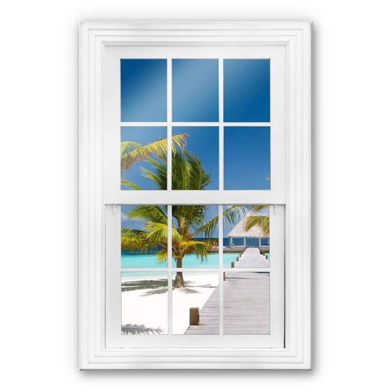 Glasbild 3D Fenster - Der Weg ins Paradies